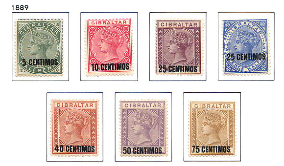 1889  QV - Overprint Pesetas Set