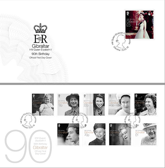 Queen Elizabeth II 90th Birthday x 2 FDC